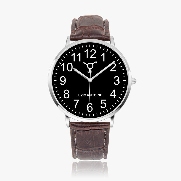Silver case watch with black watch face, white Arabic numbers, and brown leather strap
