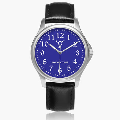classic watch with blue watch face, silver case, white arabic numerals, and black genuine leather strap.