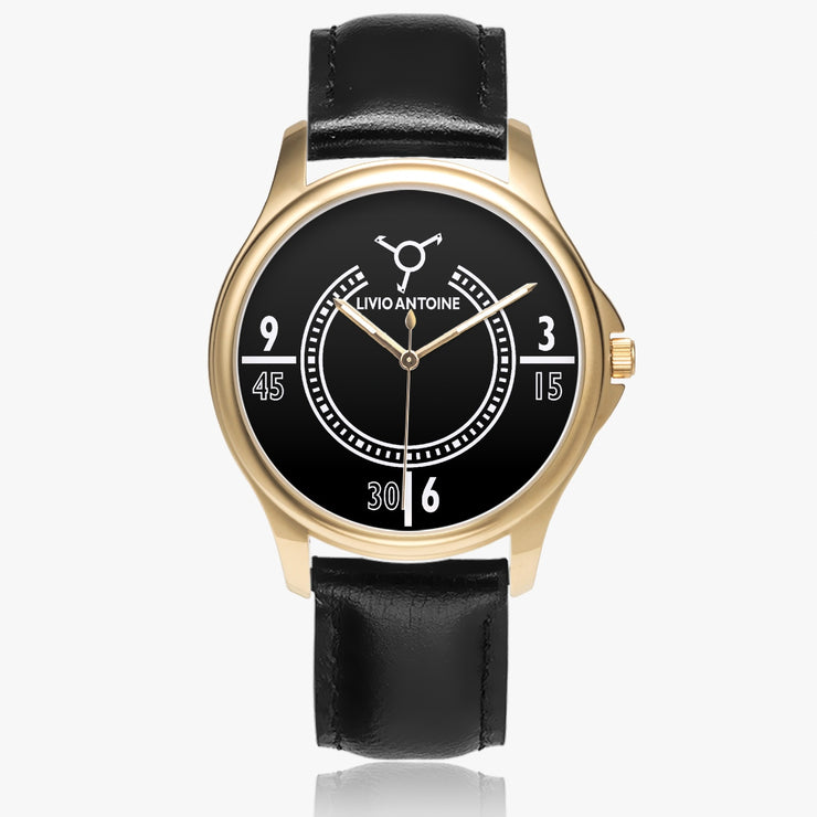 yellow gold case, black and white watch face and black leather strap