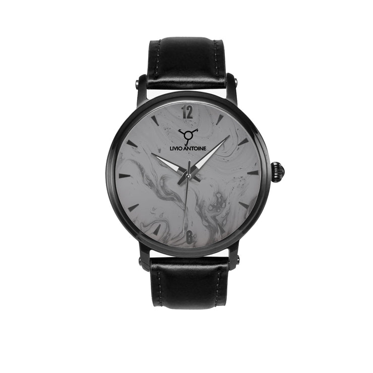 black case automatic watch with black, grey face, black indicators and black leather strap