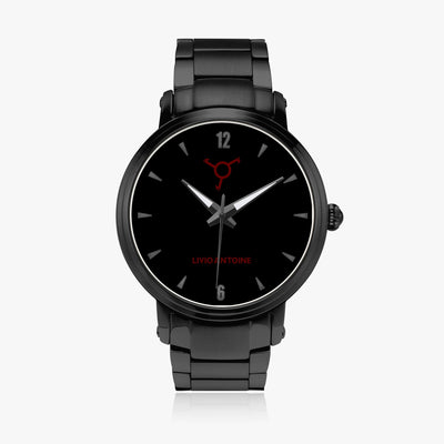 black case automatic watch with black face, black indicators and black stainless steel strap