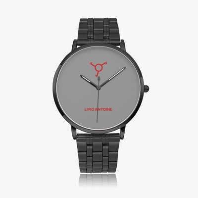 Gray watch face, low red gradient logo featuring black case, and black stainless steel link strap