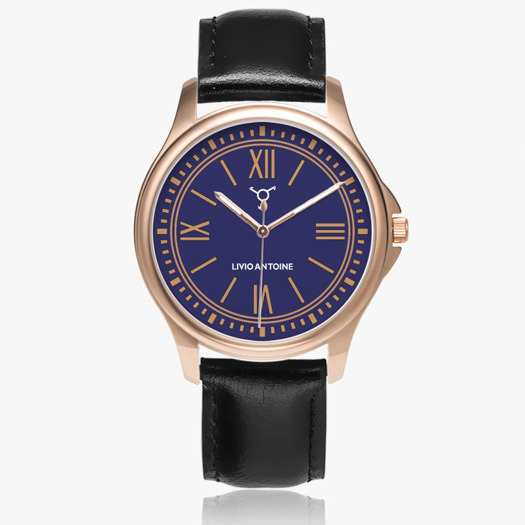 rose gold case, dark blue and rose watch face, and black leather strap