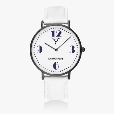 black case, white and dark blue watch face and white leather strap