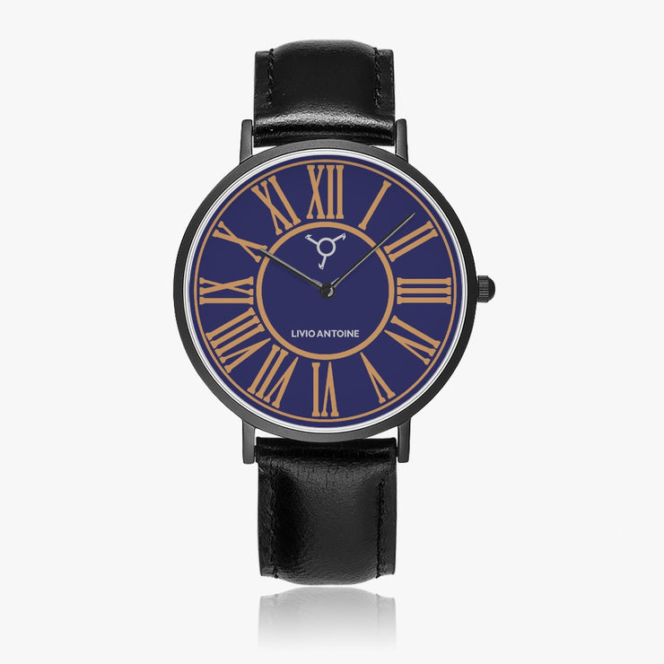 black case classic watch with dark blue watch face and brown numbers featuring a black leather strap