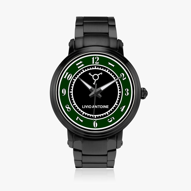 black and green watch face, black case, and black stainless steel link strap