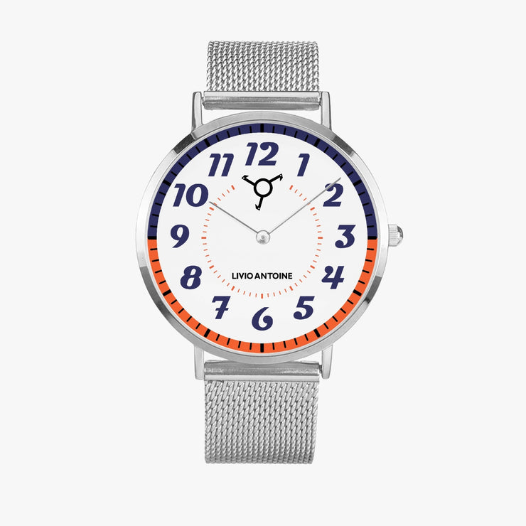 silver case watch with white, orange, blue dial and silver mesh stainless steel strap