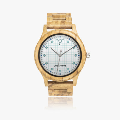 wooden case, light blue, and white watch face, and wooden strap