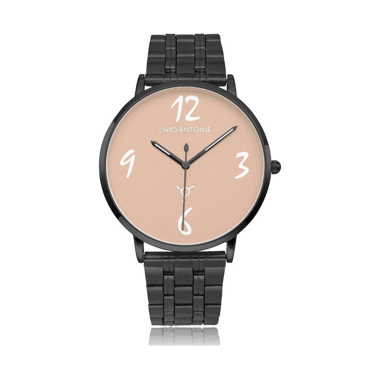 Rose watch face featuring black case, and stainless steel link strap
