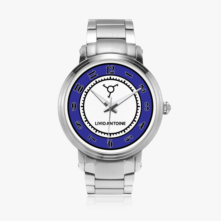 White and blue watch face, silver case, and silver stainless steel link strap