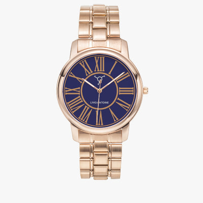 Rose gold case with dark blue, brown latin numbers and rose gold stainless steel link strap
