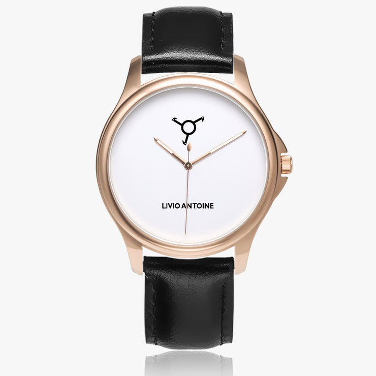 rose gold case classic watch with white face and black leather strap