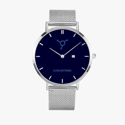 silver case, dark blue watch face, light blue logo and silver stainless steel mesh strap