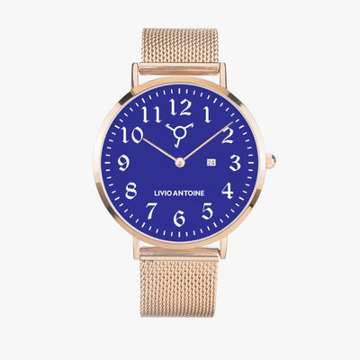 Rose gold casual watch with blue watch face, white arabic numerals, and rose gold mesh strap