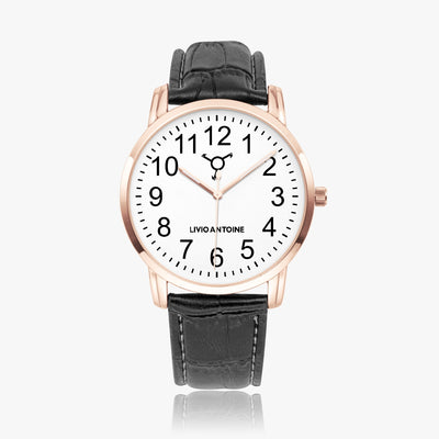 Rose gold case watch with white watch face, black numbers and black leather strap