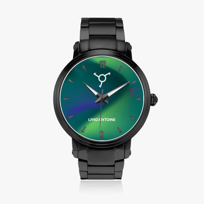 black case, blue-greenish aurora watch face, black indicators, and black link stainless steel strap