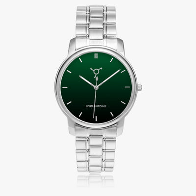 Green watch face with silver numbers and silver stainless steel strap