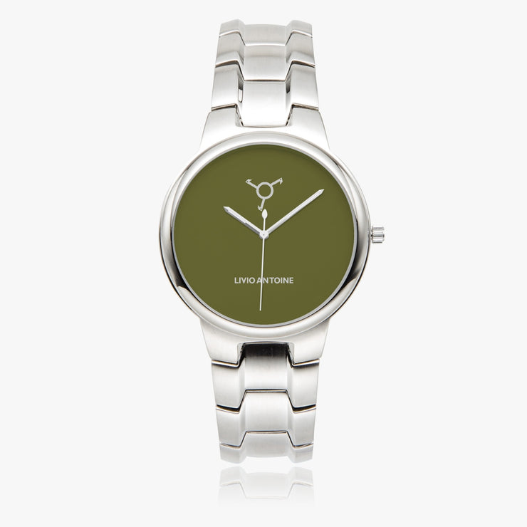 Silver case watch with green olive colored watch face and silver link stainless steel strap
