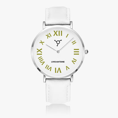 ultra thin silver watch with white dial, gold latin numbers and white genuine leather