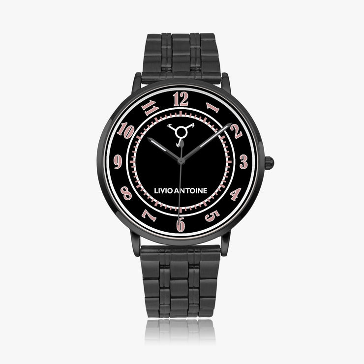 A black case and pink/black watch face with black stainless steel strap