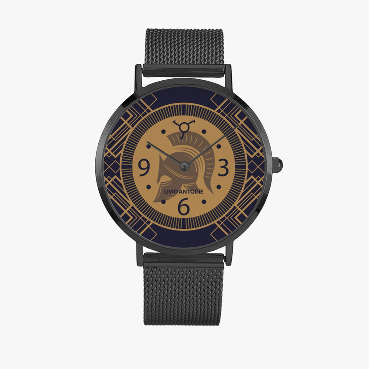 33/38/41 mm black case features Gold/ Dark Blue Dial, black hands, and the iconic roman bravery symbol with black mesh stainless steel strap