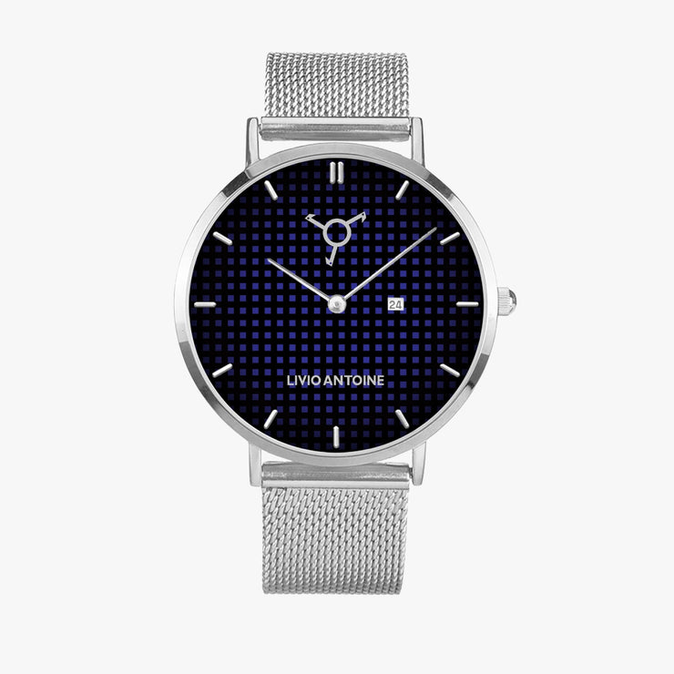 black and blue dial with silver case and silver mesh stainless steel strap
