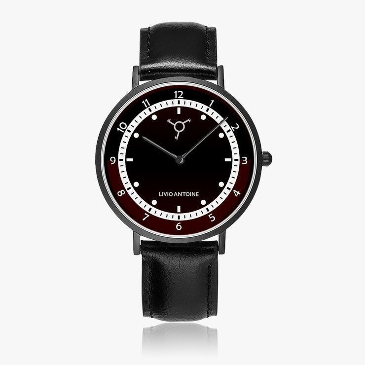 Black reddish watch face with unique white dial and black leather strap
