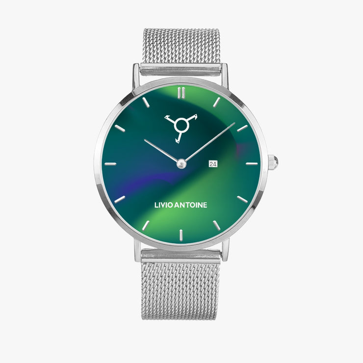 silver case, calendar, aurora blue/green watch face, and silver link stainless steel strap