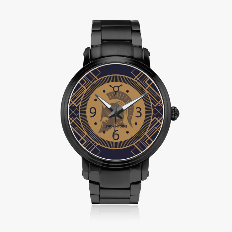 46 mm automatic black case features Gold/ Dark Blue Dial, black hands, and the iconic roman bravery symbol with black link stainless steel strap