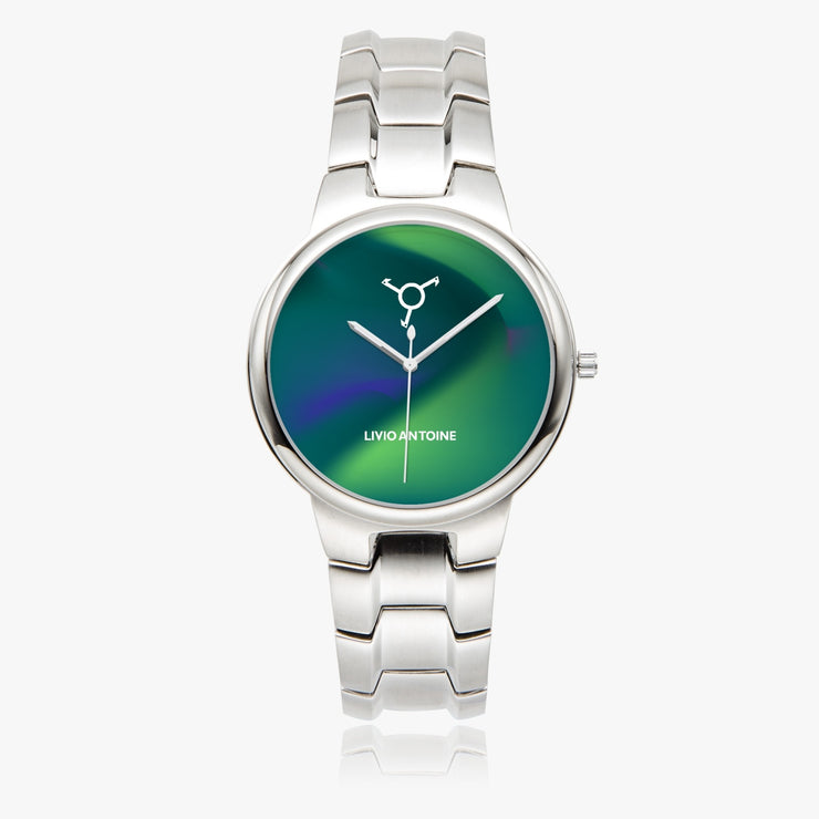silver case, aurora blue/green watch face, and silver link stainless steel strap