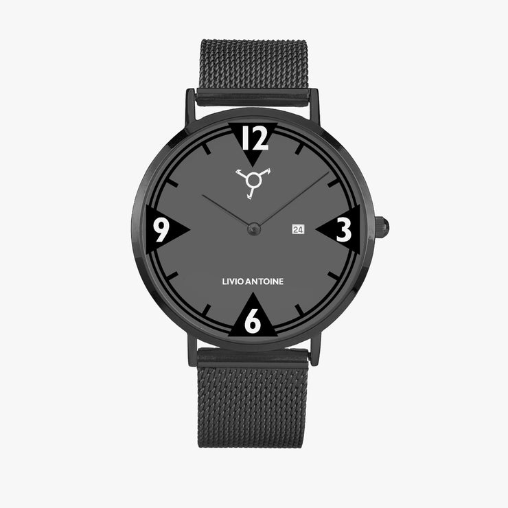 black case casual watch featuring black/ gray watch face and black mesh stainless steel strap