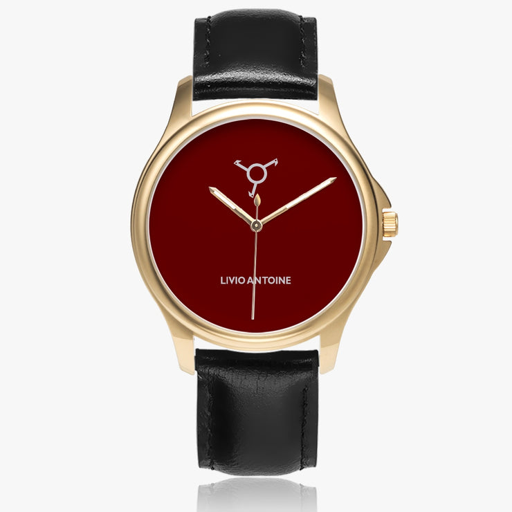 yellow gold case, classic watch with dark red face and black leather strap