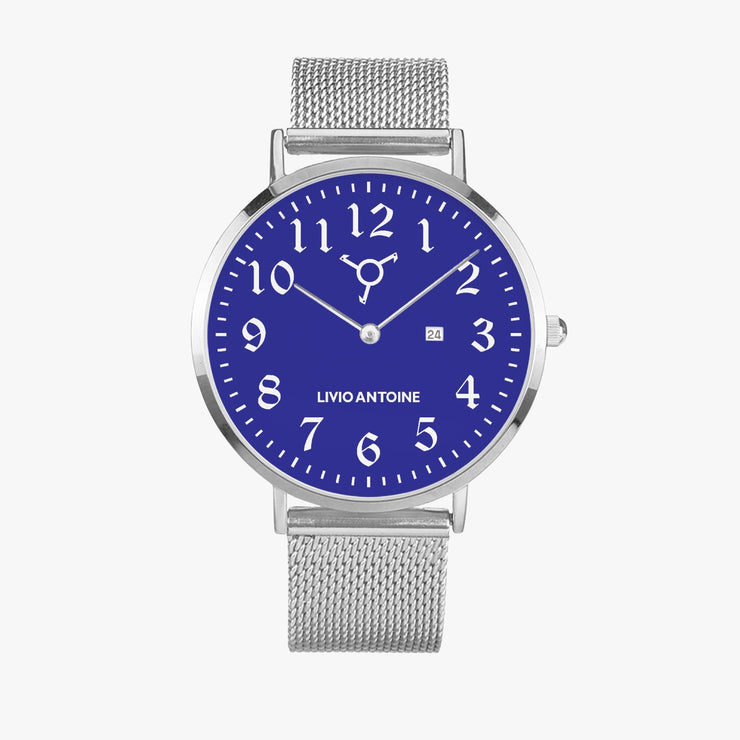 silver casual watch with blue watch face, white arabic numerals, and silver mesh strap