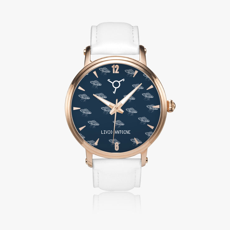Automatic classic watch with ufos pattern, blue background with white leather strap