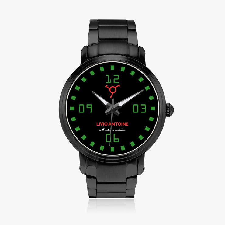Black automatic watch with black, greenish dial and black stainless steel strap
