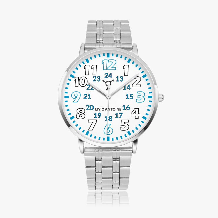 Silver stainless steel watch with white watch face and white/blue numbers