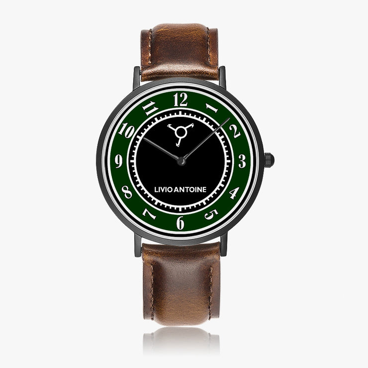 black case, green/black watch face and brown leather strap
