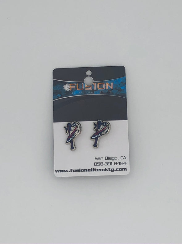 Pensacola Blue Wahoos Batfish Stud Earrings