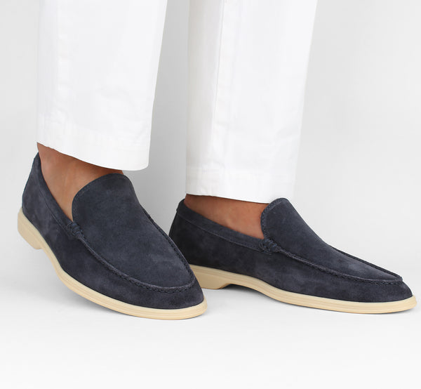 Dark Blue Suede Yacht Loafer Aurélien