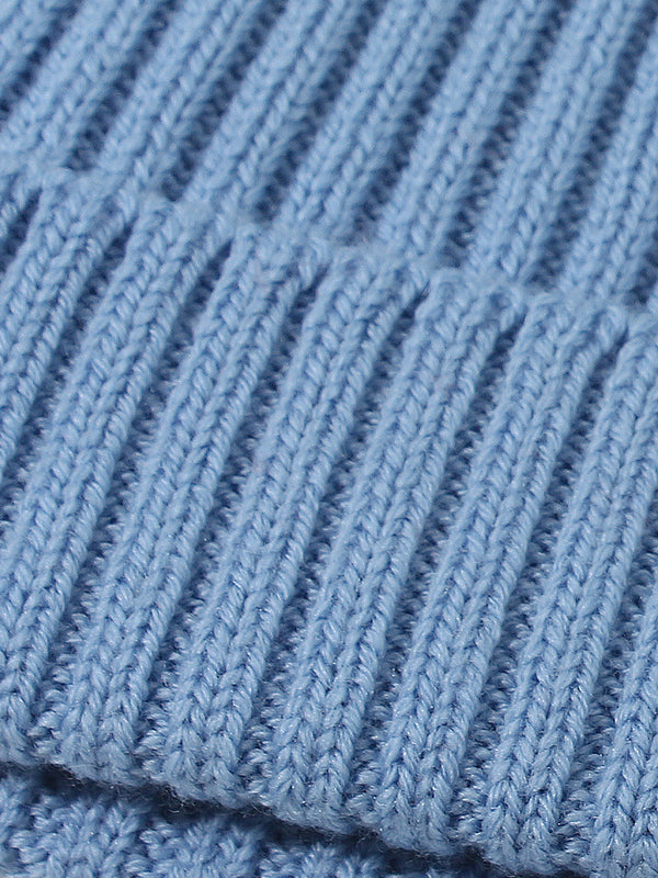 Extrafine Merino Wool Ribbed Knit Hat Beanie Light Blue
