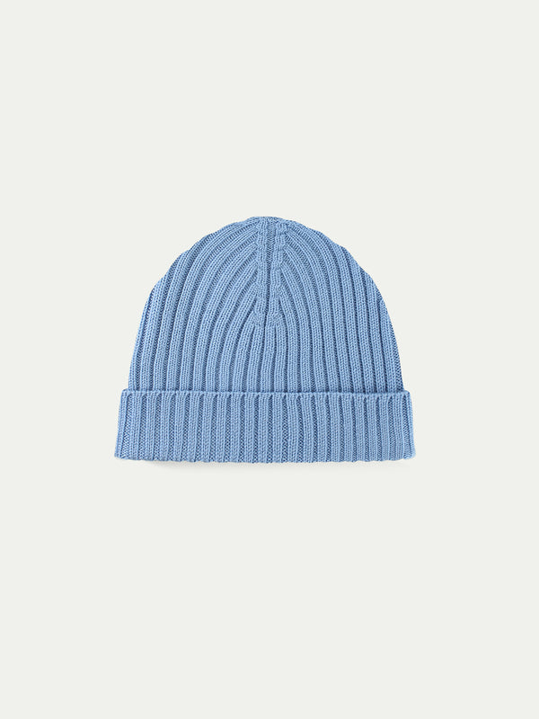Light Blue Cashwool Hat Ribbed Knitted