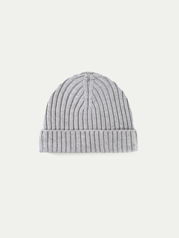 Light Grey Cashwool Hat Ribbed Knitted