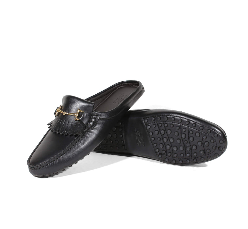 Black Leather Slipper Aurélien