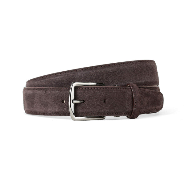 Chocolate Suede Leather Belt Aurélien