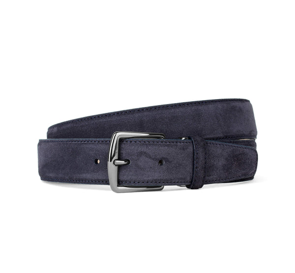 Dark Blue Suede Leather Belt Aurélien