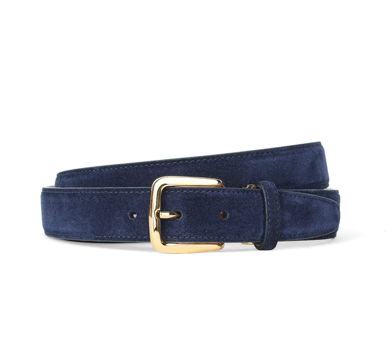 Navy Suede Belt Gold Aurélien