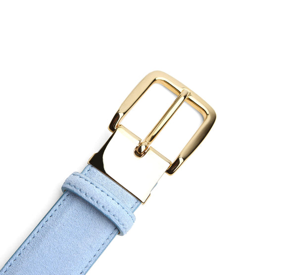 Light Blue Suede Belt Gold