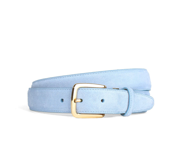 Light Blue Suede Belt Gold Aurélien