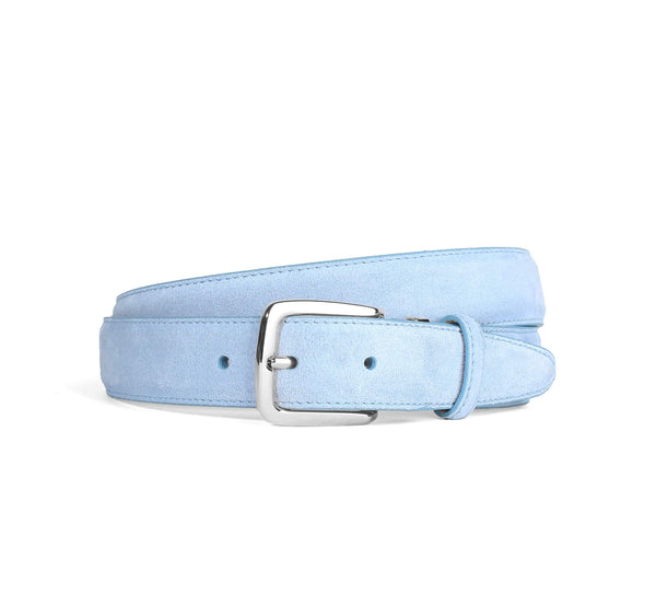 Light Blue Suede Belt Silver