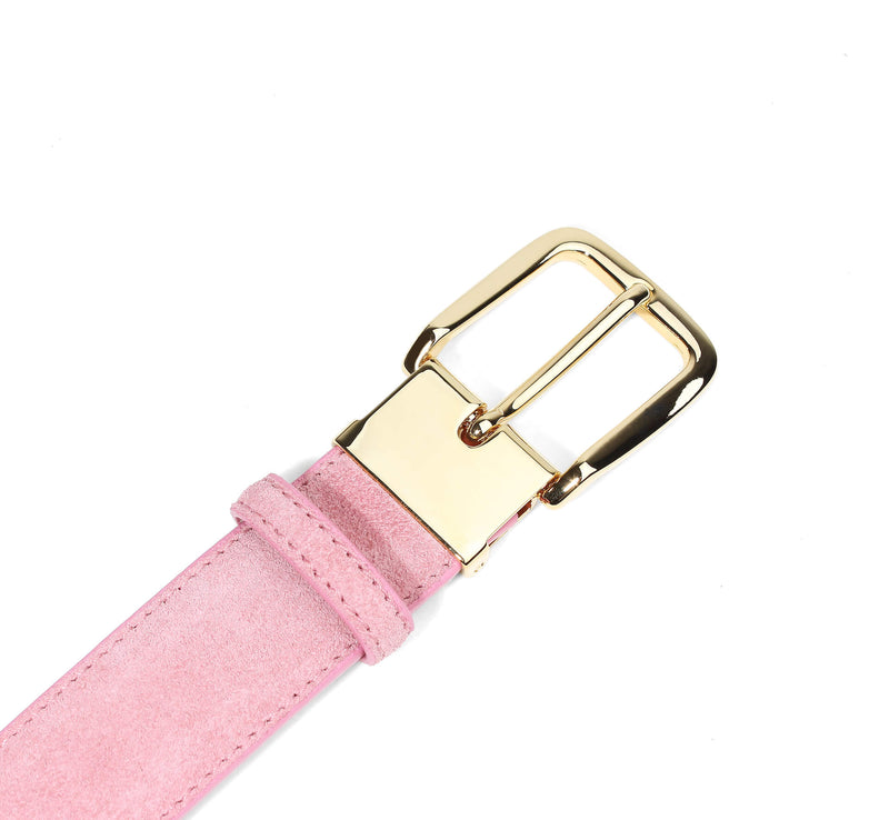Pink Suede Belt Gold